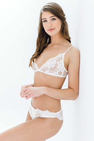 Rosa Scalloped French Lace Bralette in Black, Ivory or Rose Pink