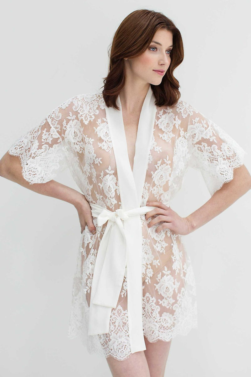 Rosa French lace kimono robe in Off-white - style #R97SS