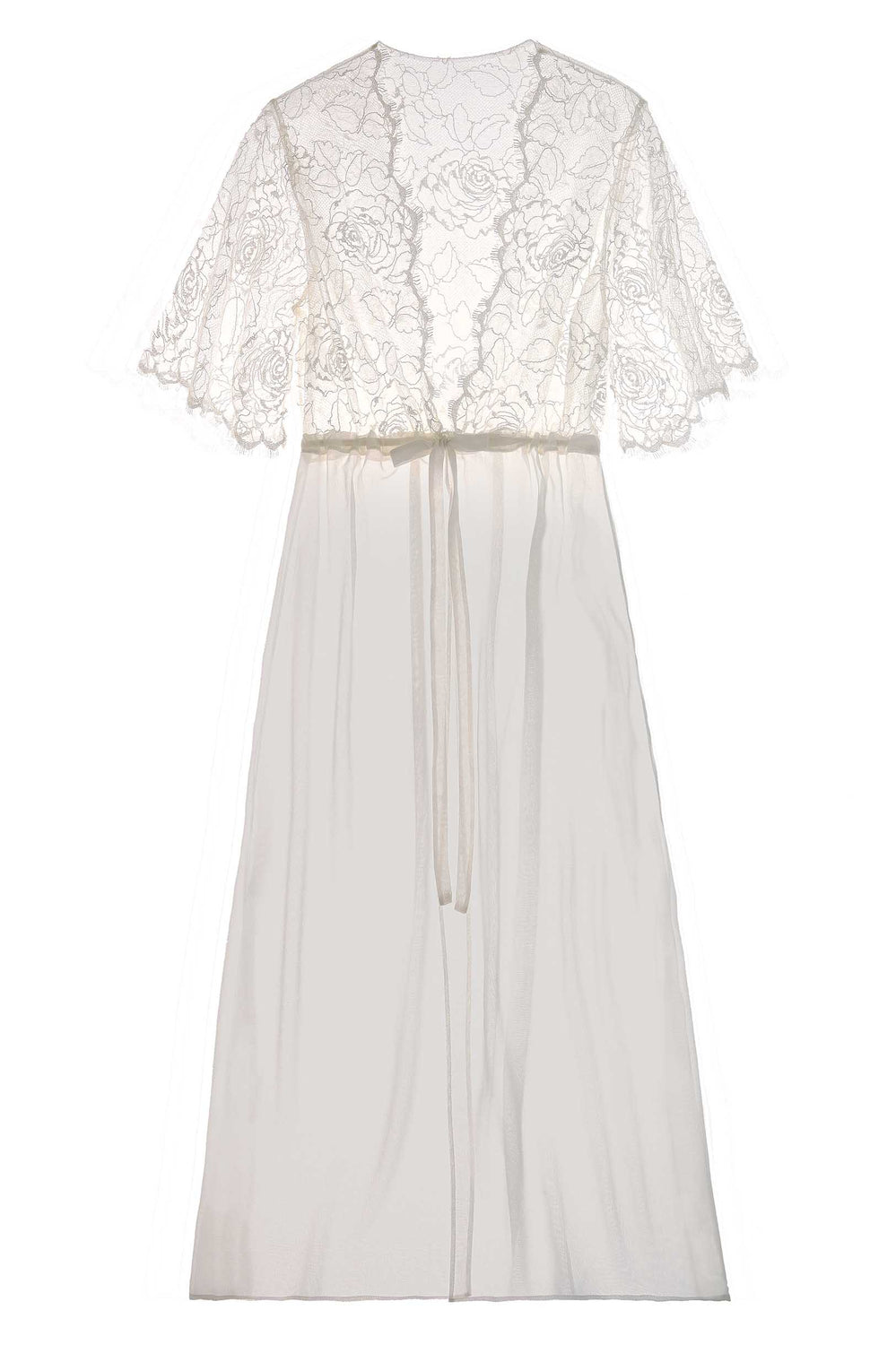 Rose French lace dressing robe in Ivory