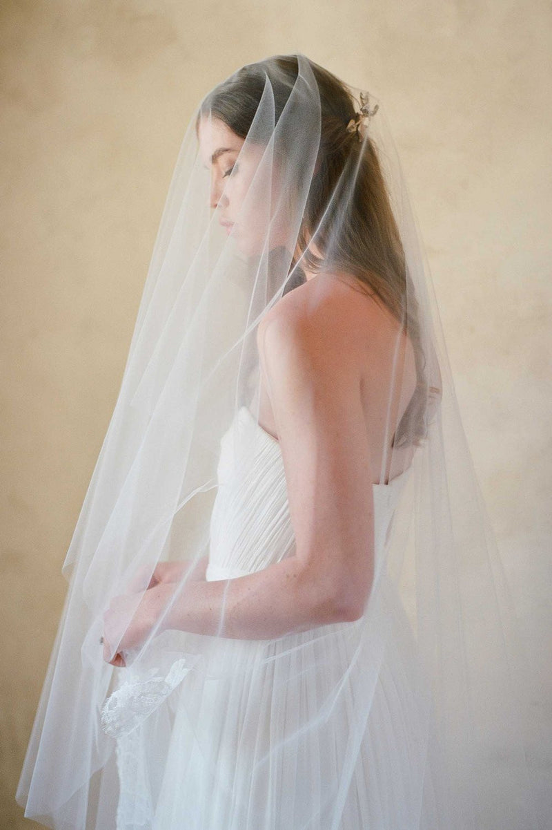 Roseline French Lace Cathedral Veil in Ivory or Off-white - style V70