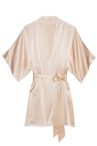 Swan Queen lace and silk bridal robe kimono - style 104 nude