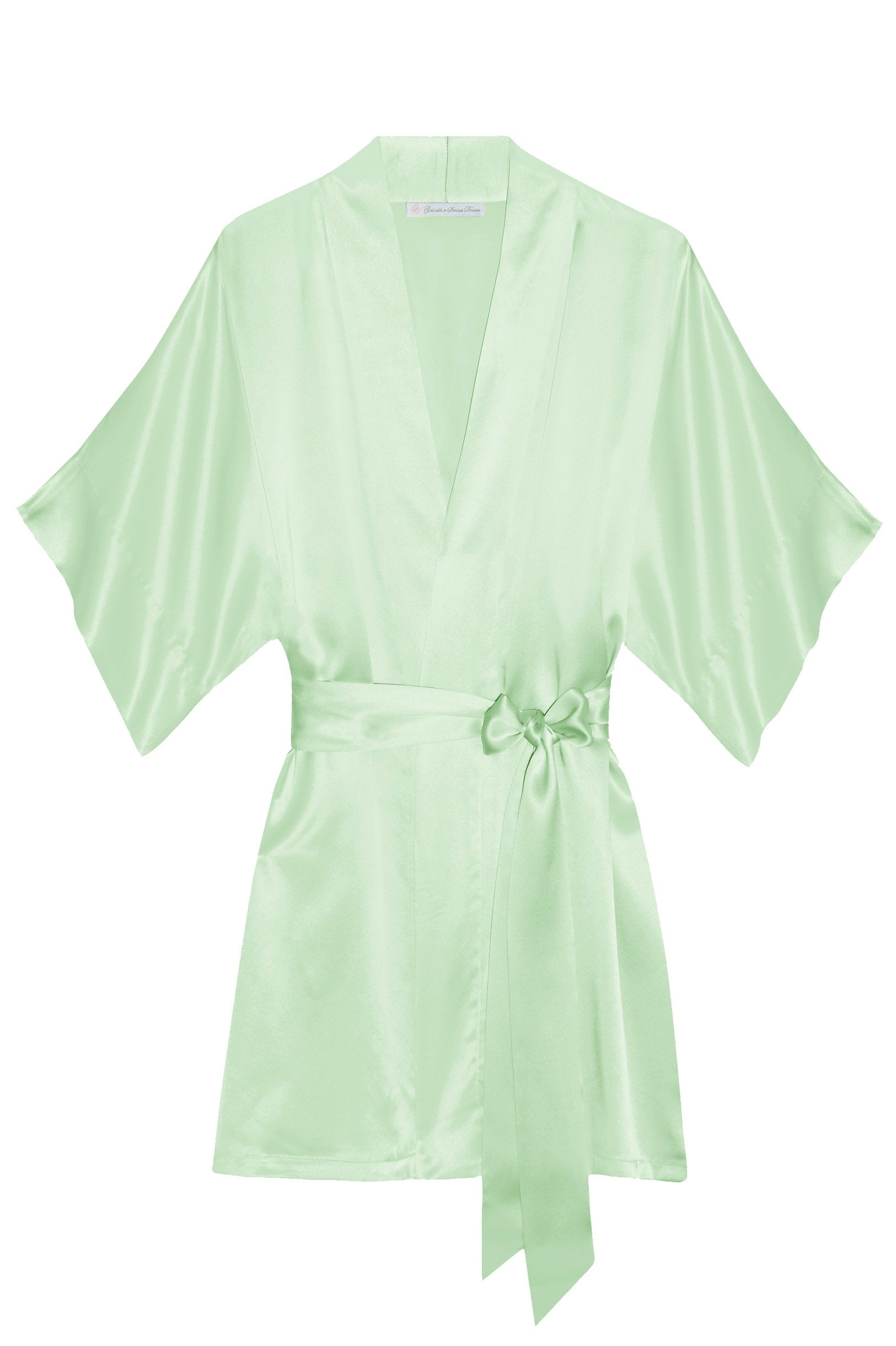 Samantha Silk Kimono Robe in Mint green - style 300
