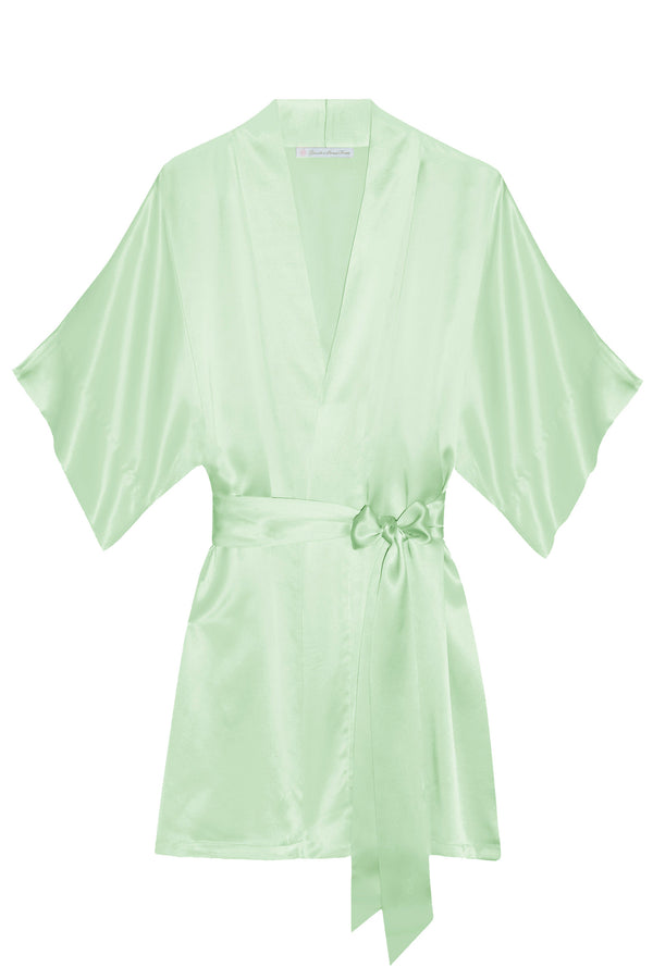 Samantha Silk Kimono Robe in Mint green