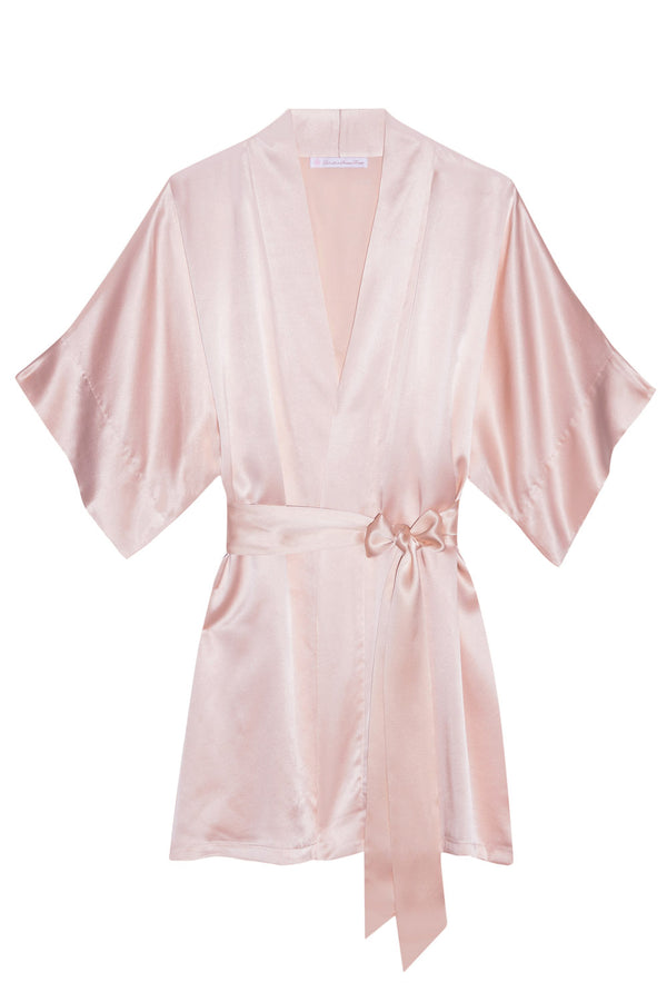 Samantha Silk Kimono Robe in Rose quartz pink