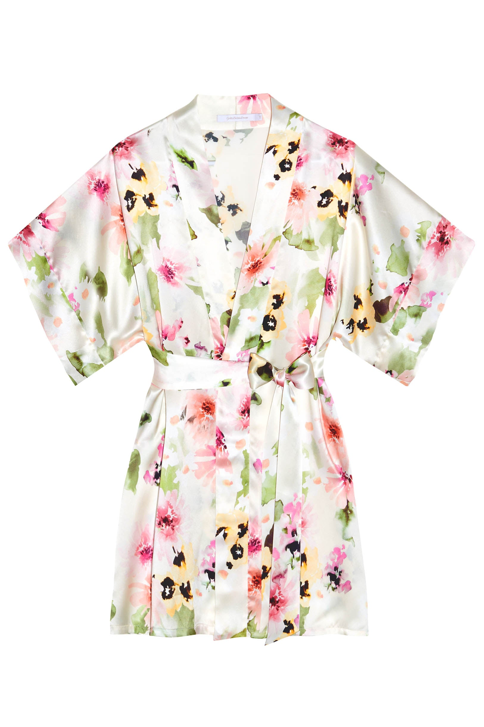 Samantha Silk Kimono Robe in Watercolor Dreams floral print