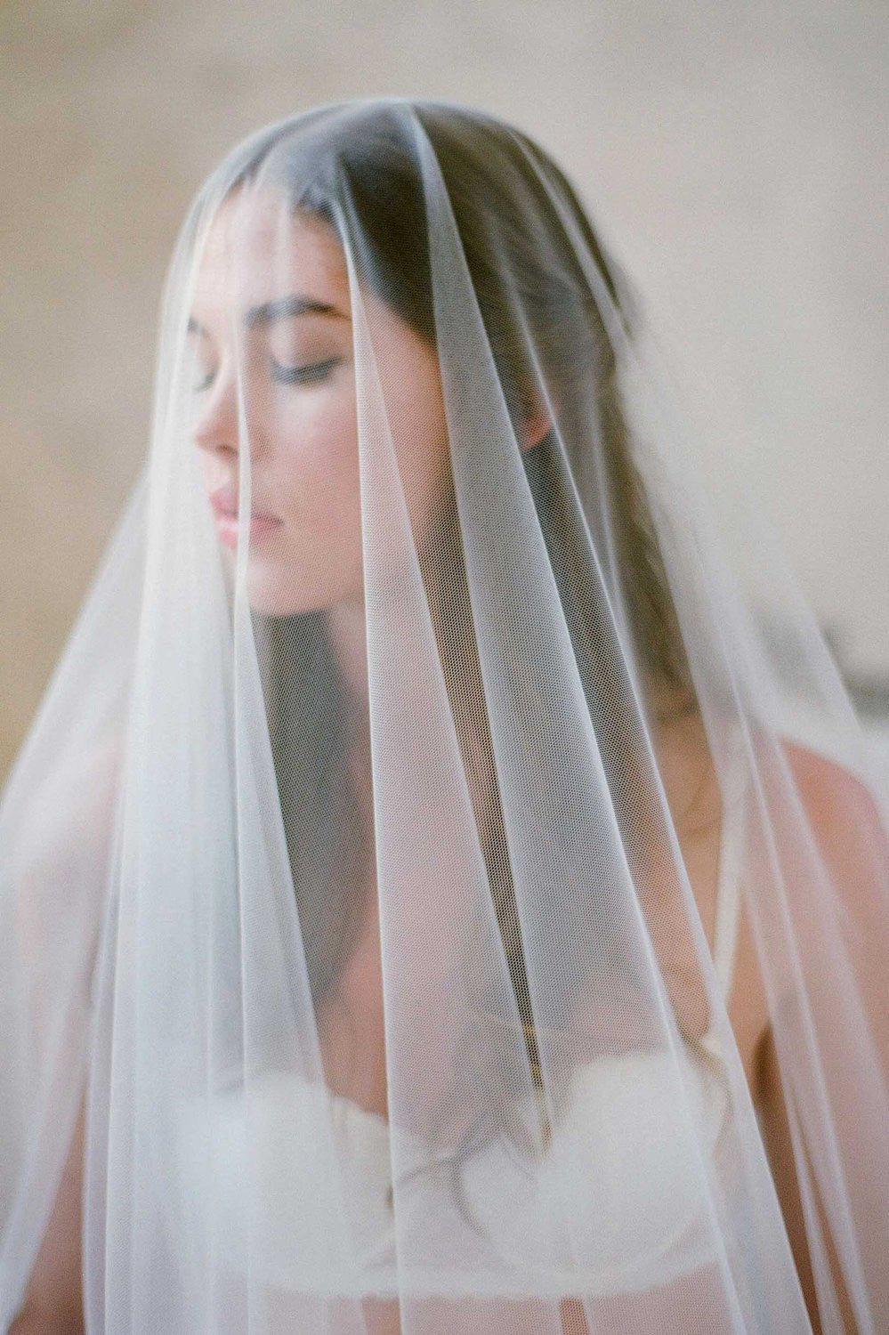 SOPHIE FRENCH LACE SCALLOP BLUSHER VEIL with comb ivory off white cathedral wedding bridal