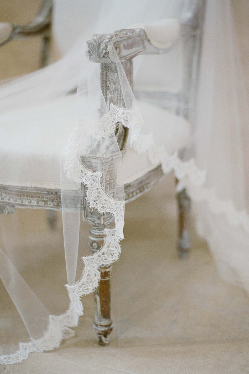 Traditional mantilla scallop veil with sheer Alencon lace Royal Bride shot by Jose Villa