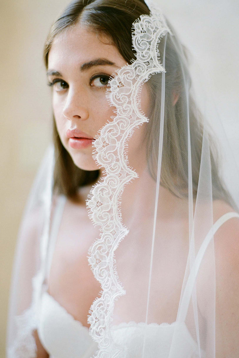 Single layer mantilla style Fingertip Veil shot by Jose Villa