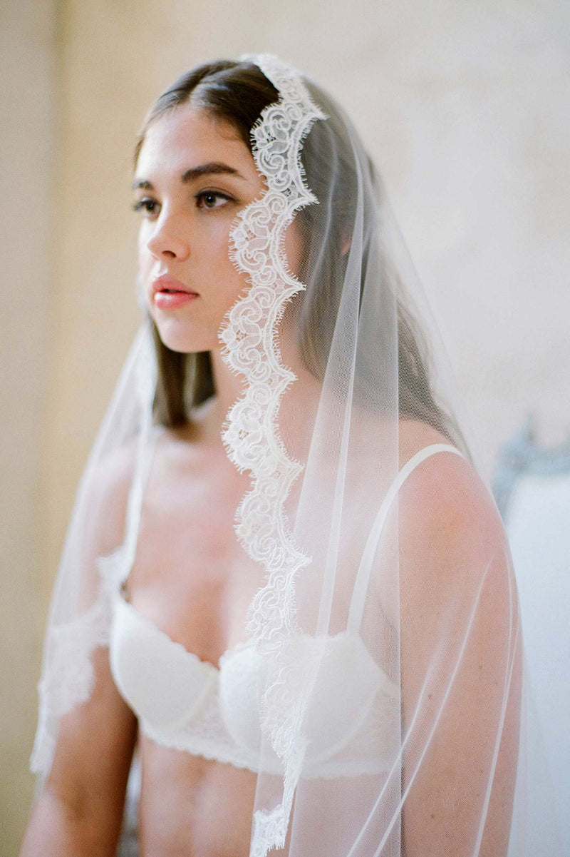Sophie French lace scallop mantilla veil Alencon Lace Ivory White with comb wedding bridal cathedral royal