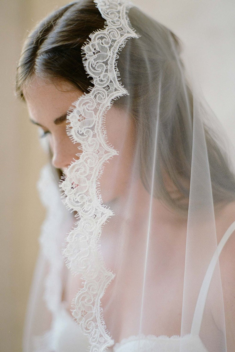 Sophie French lace scallop mantilla veil Alencon Lace Ivory White with comb wedding bridal Jose Villa