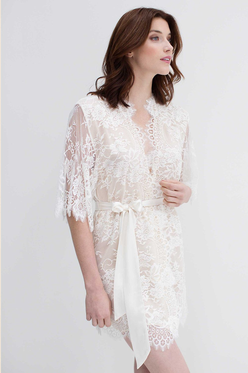 SWAN QUEEN SILK AND LACE ROBE KIMONO - STYLE 104SH CHAMPAGNE