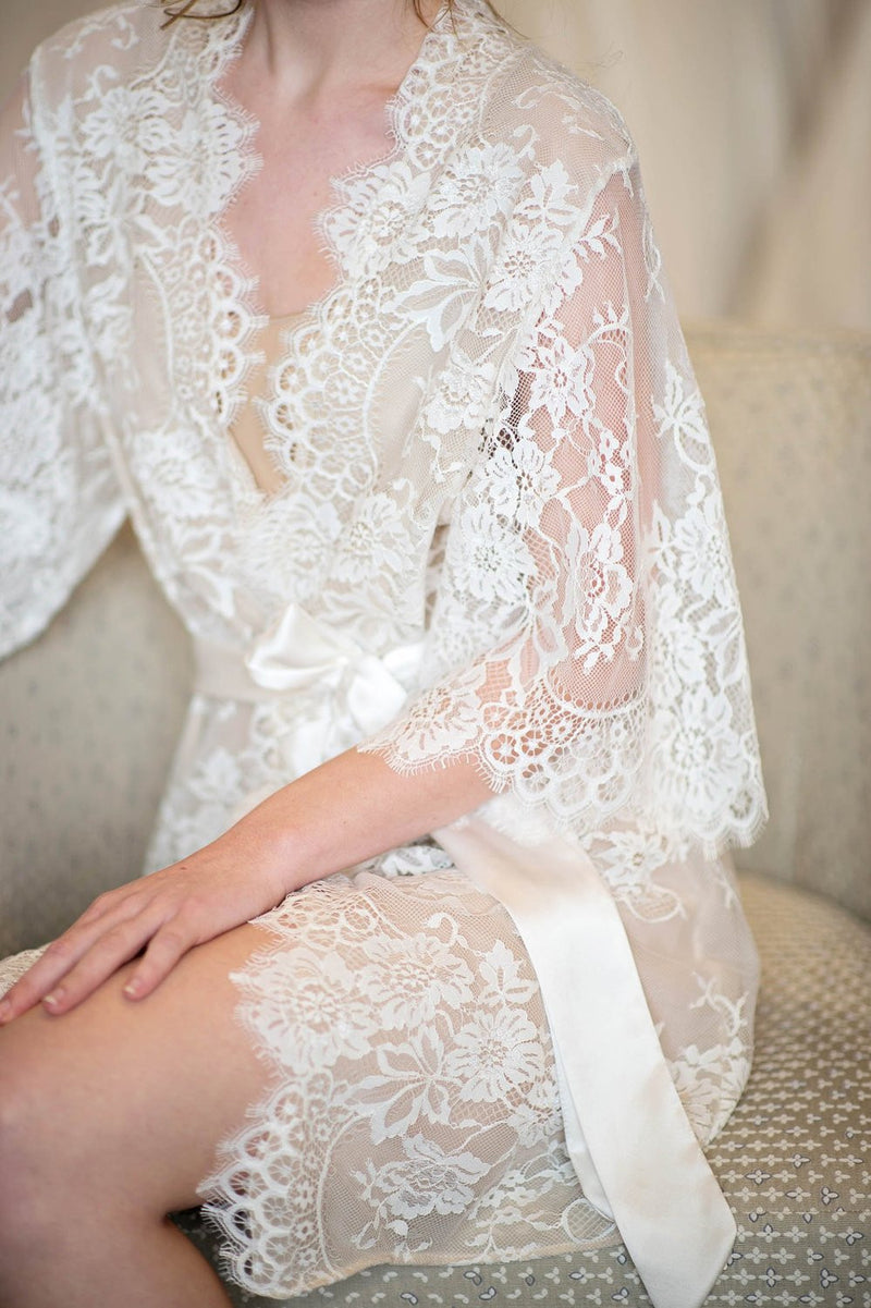 SWAN QUEEN SILK AND LACE ROBE KIMONO - STYLE 104SH NUDE