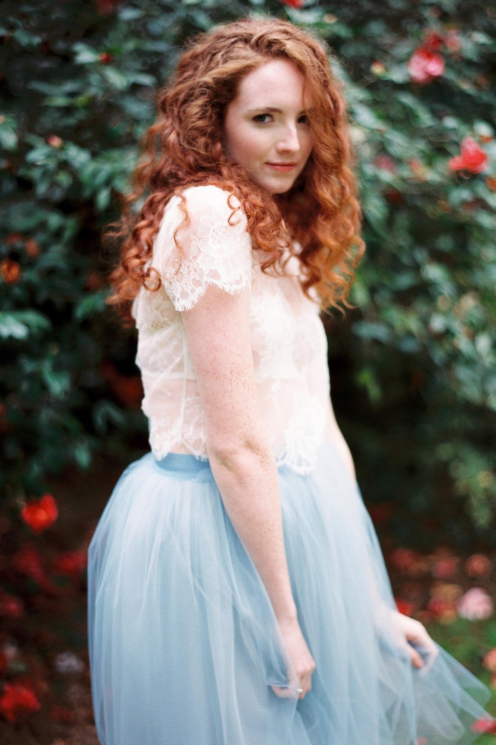 Lydia Tonal Tulle Skirt in powder blue