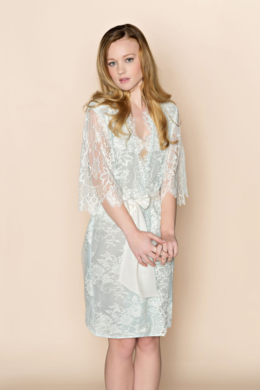SWAN QUEEN LACE & SILK BRIDAL ROBE KIMONO IN POWDER BLUE - STYLE 104 BLUE