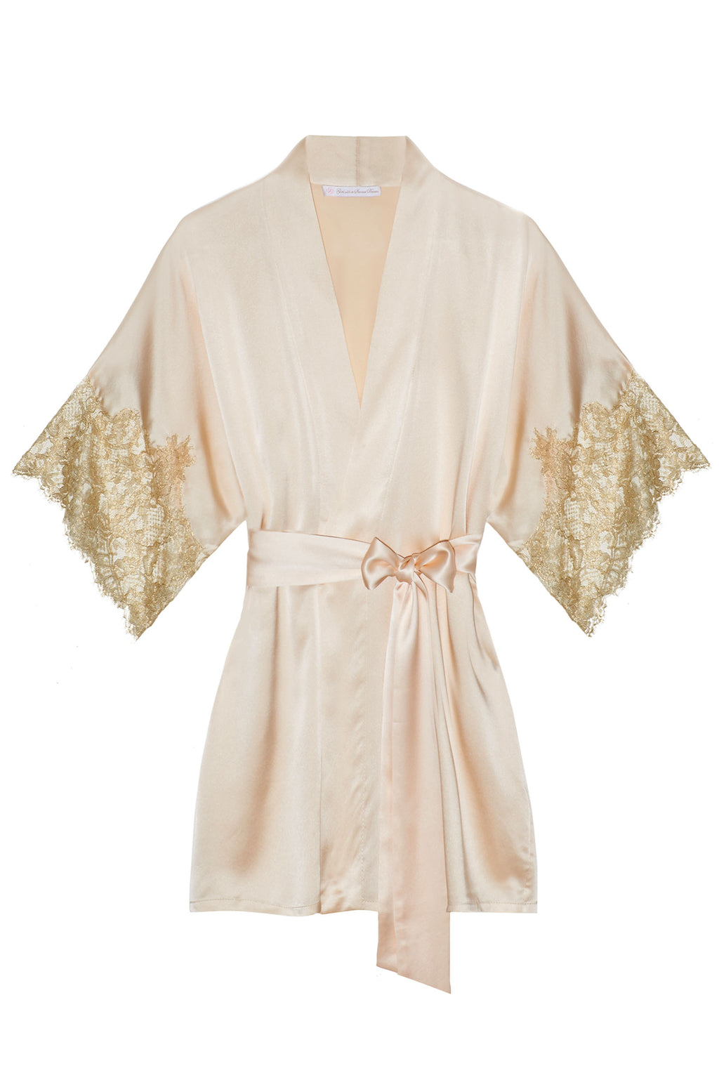 Tara Gilded Silk Kimono robe in Blush pink + gold lace