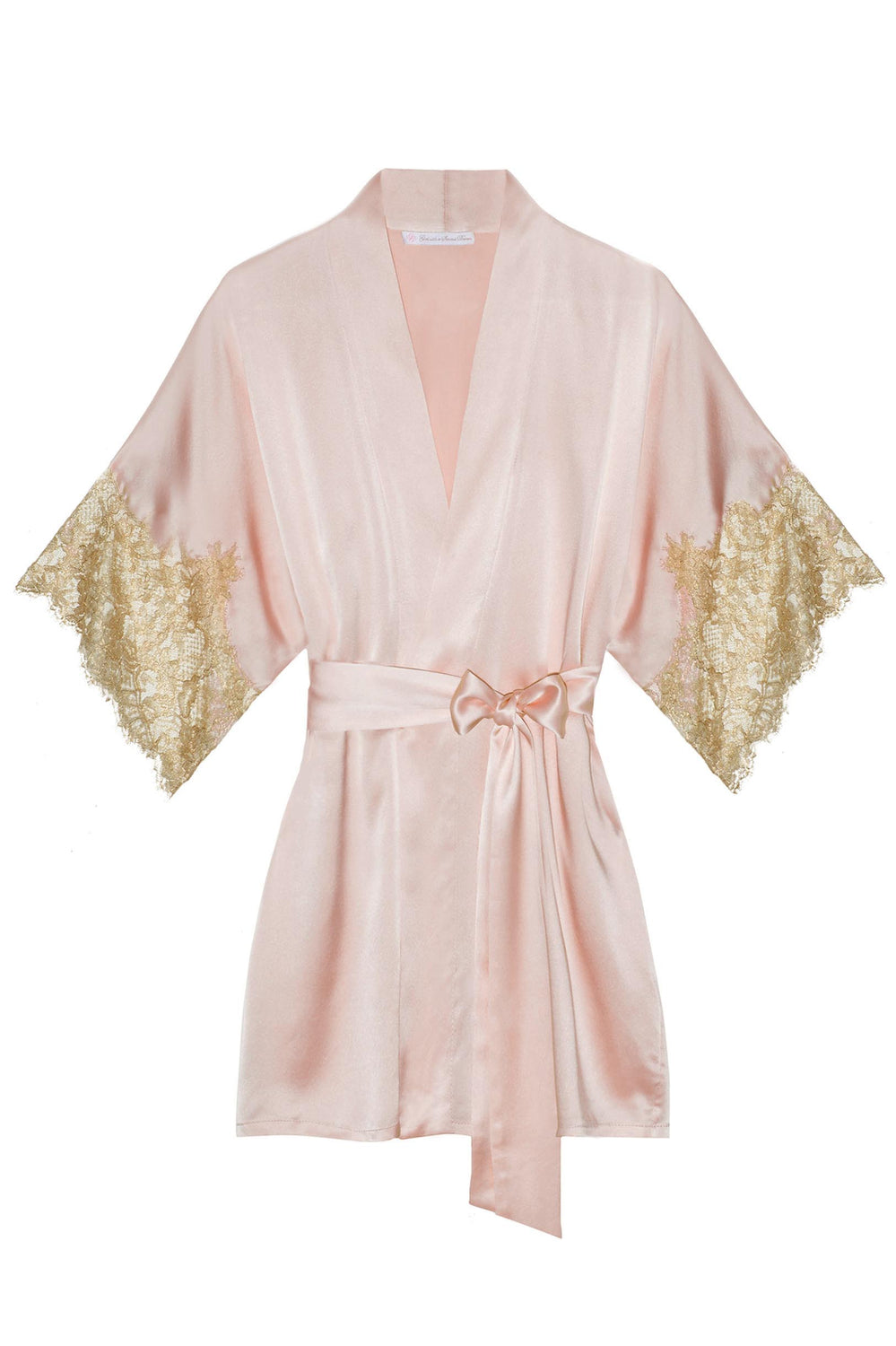 Tara Gilded Sleeve Silk Kimono robe in Ivory + Ivory gold lace - Style R77