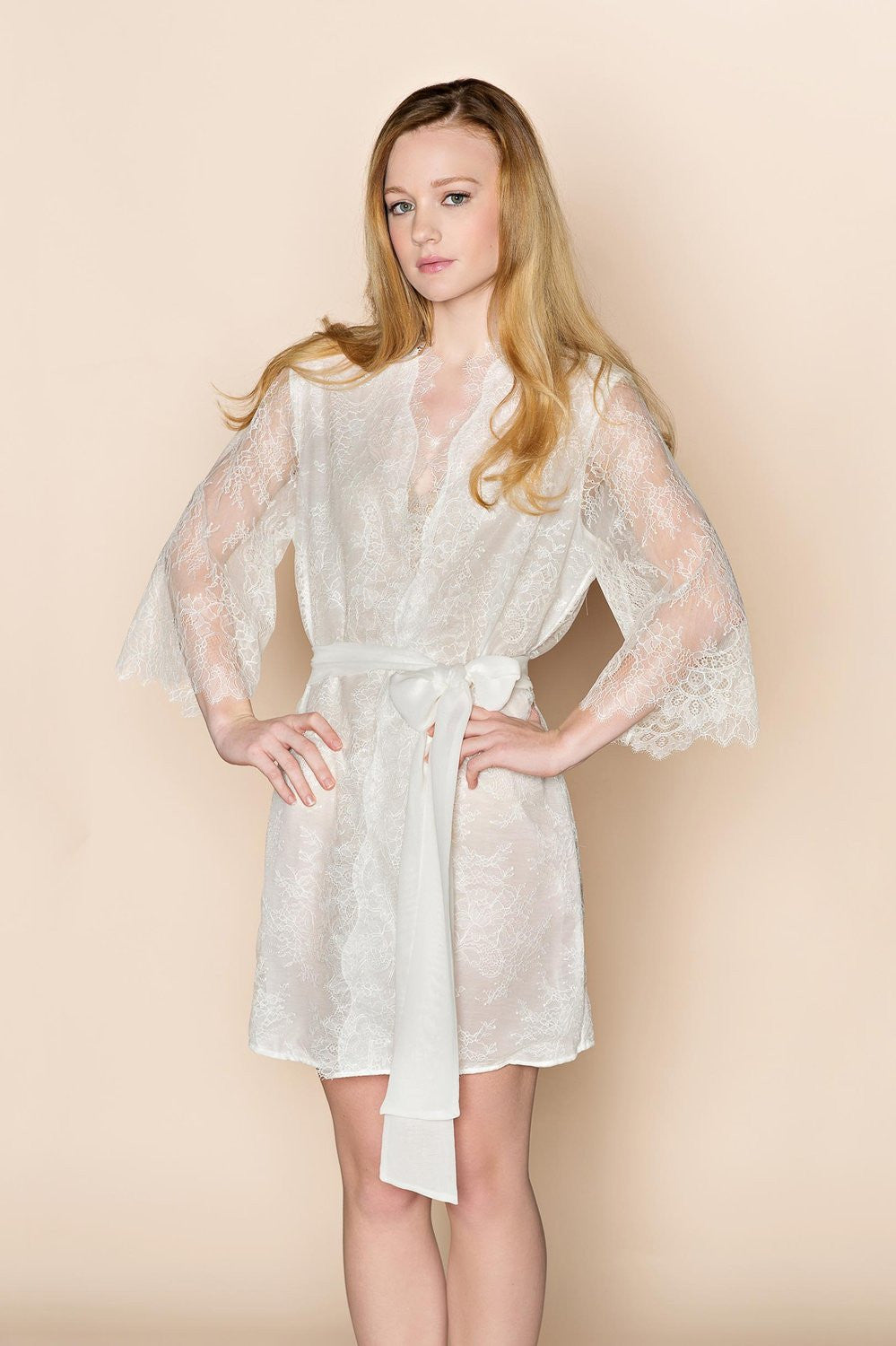 THE ODETTE LACE & SILK BRIDAL KIMONO ROBE LINED IN OFF WHITE