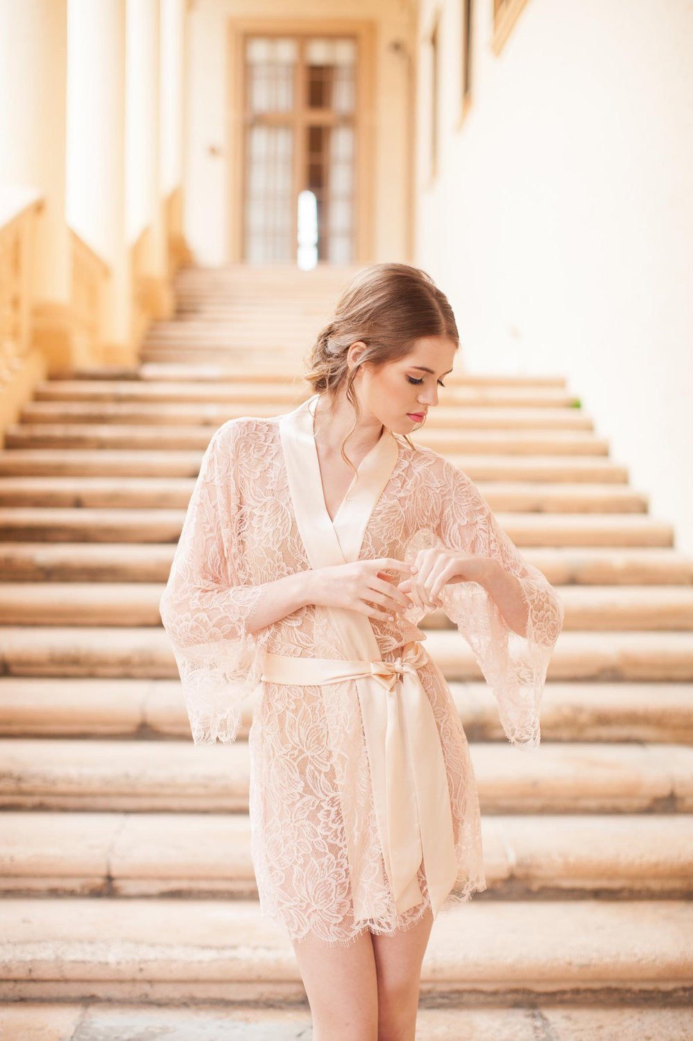 8b47bf910 ... TULIP FRENCH LACE   SILK BRIDAL KIMONO ROBE IN BLUSH PINK - STYLE 200  ...