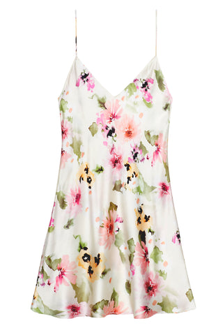 Watercolor Dreams Floral print Slim fit Silk Kimono Robe sheer