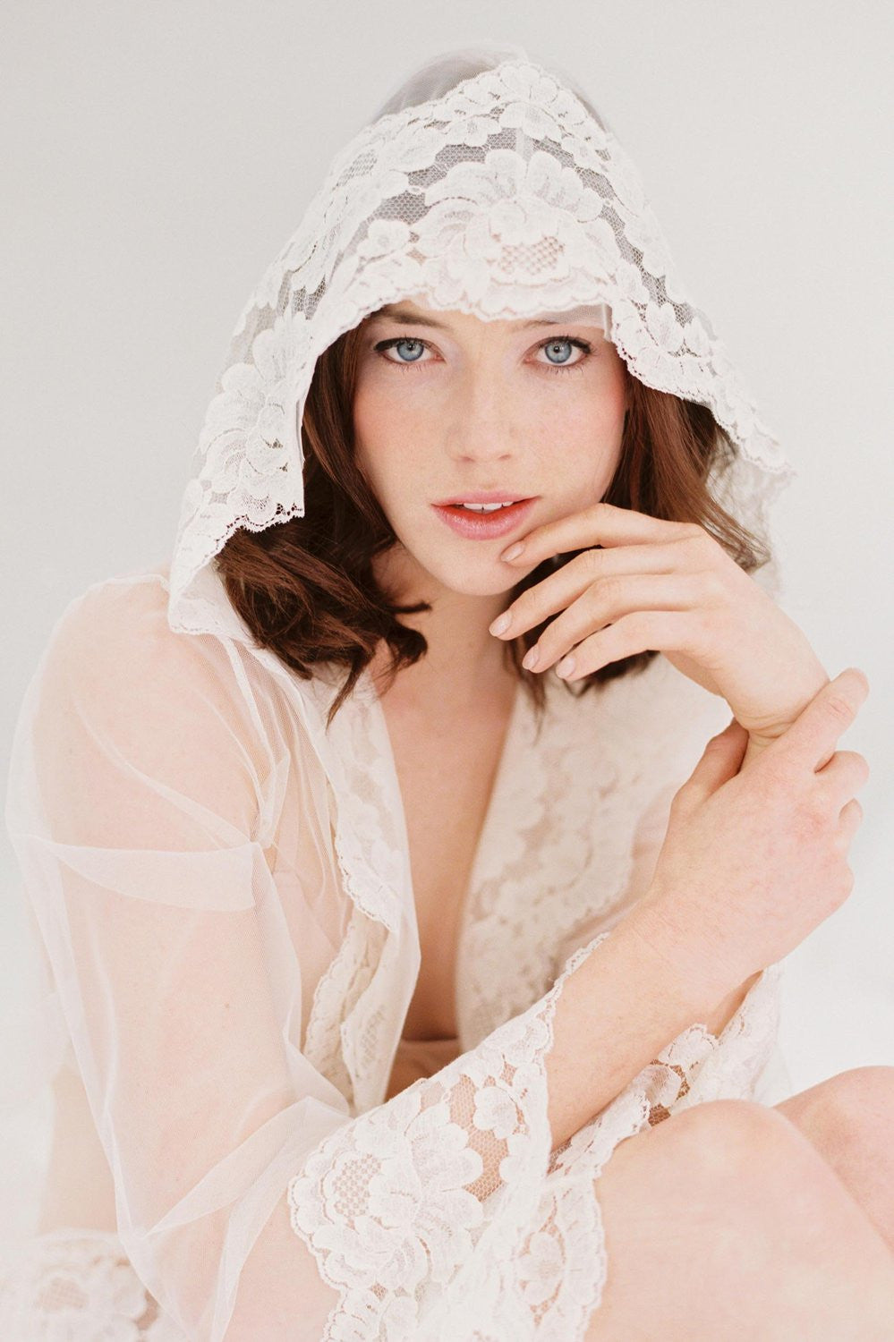 Amalfi Hooded Tulle Sheer Lace boudoir kimono robe Ivory Cover Up