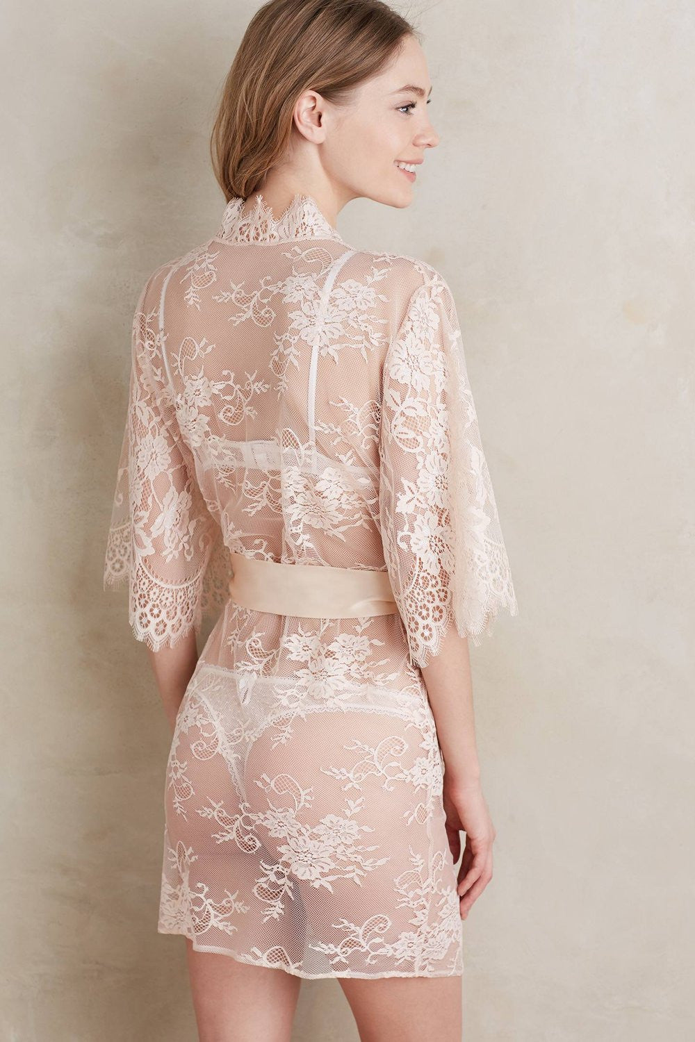 SWAN QUEEN LACE KIMONO BRIDAL ROBE IN BLUSH - STYLE 102