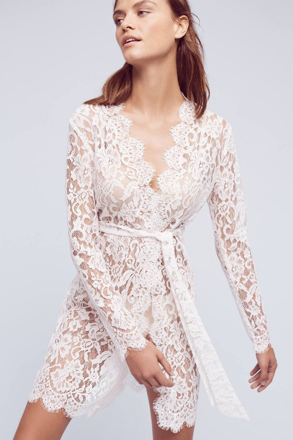 Anthropologie Giselle Leavers Lace Robe coat cover up in ivory