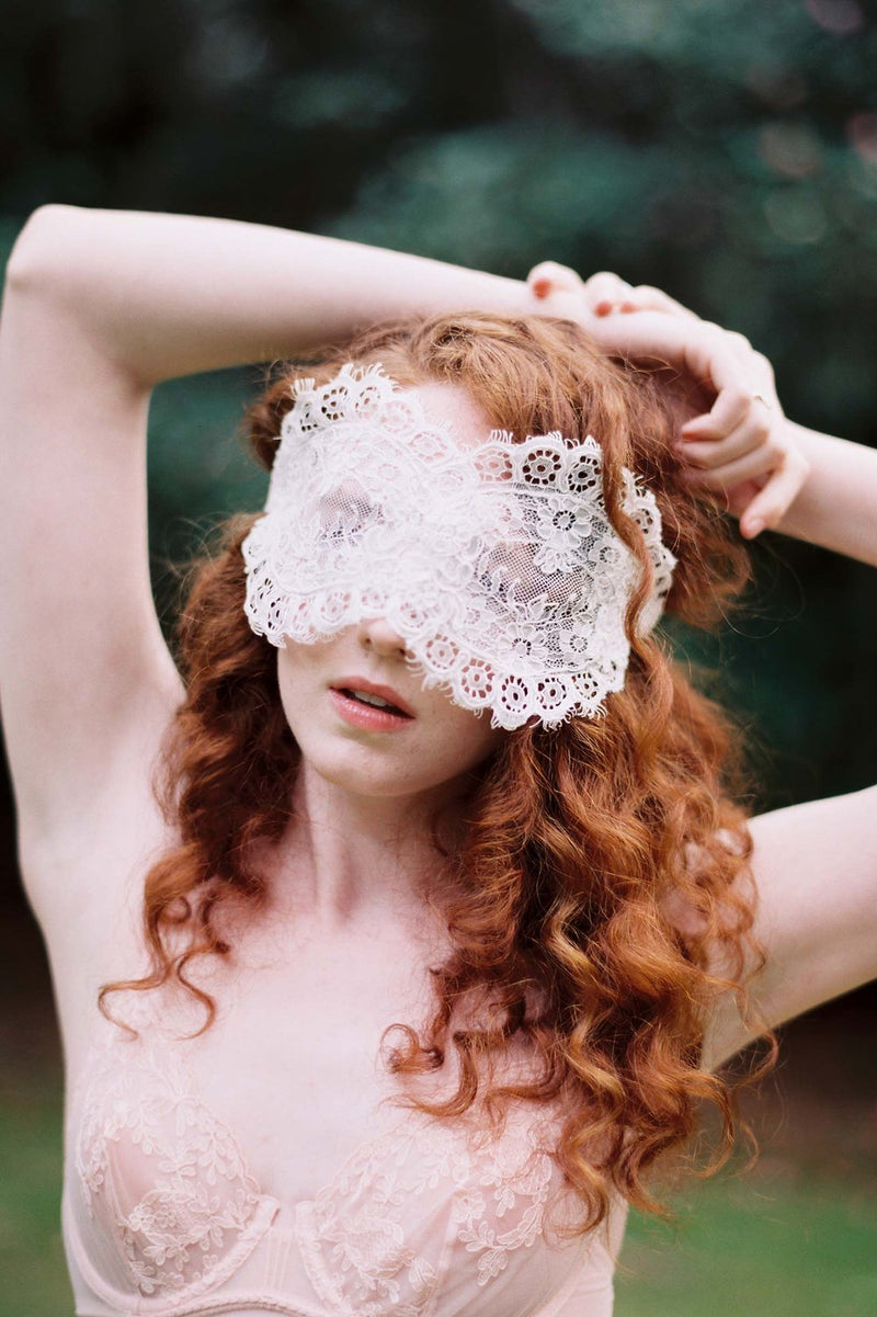 Rayna Alencon Lace Blindfold Venetian Eye Mask in Ivory or Black