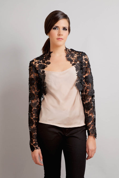 Krista Italian Guipure lace bolero shrug in black