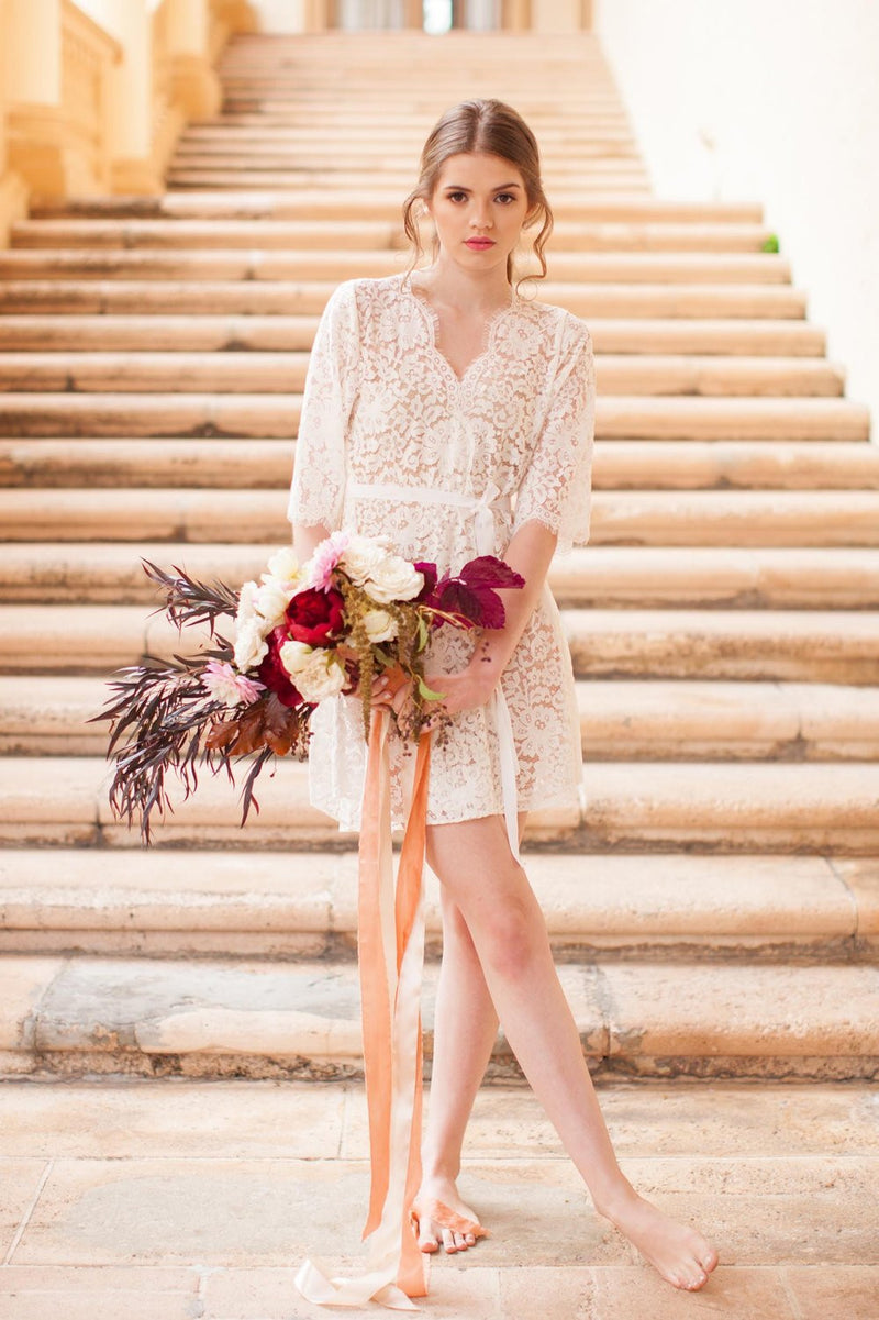 ELIZABETH LACE ROBE IN IVORY - STYLE 120