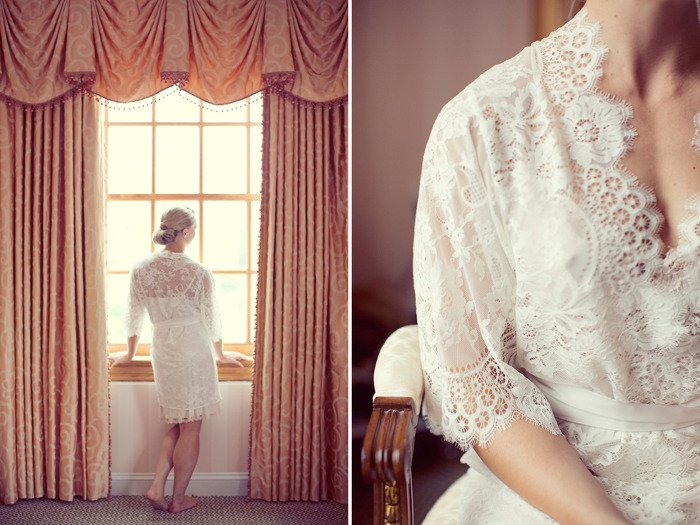 Swan Queen lace kimono bridal robe in Ivory or Blush - Style 102