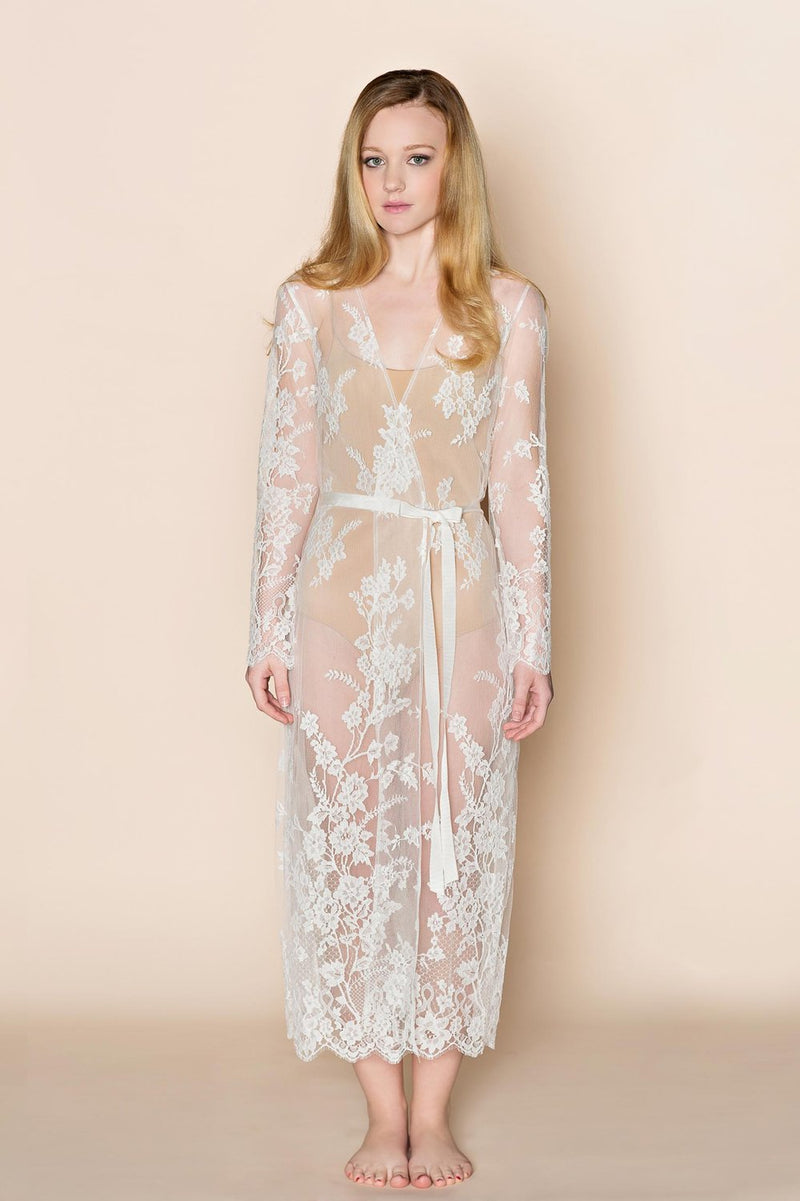 Juliet French lace robe coat cover up in Ivory
