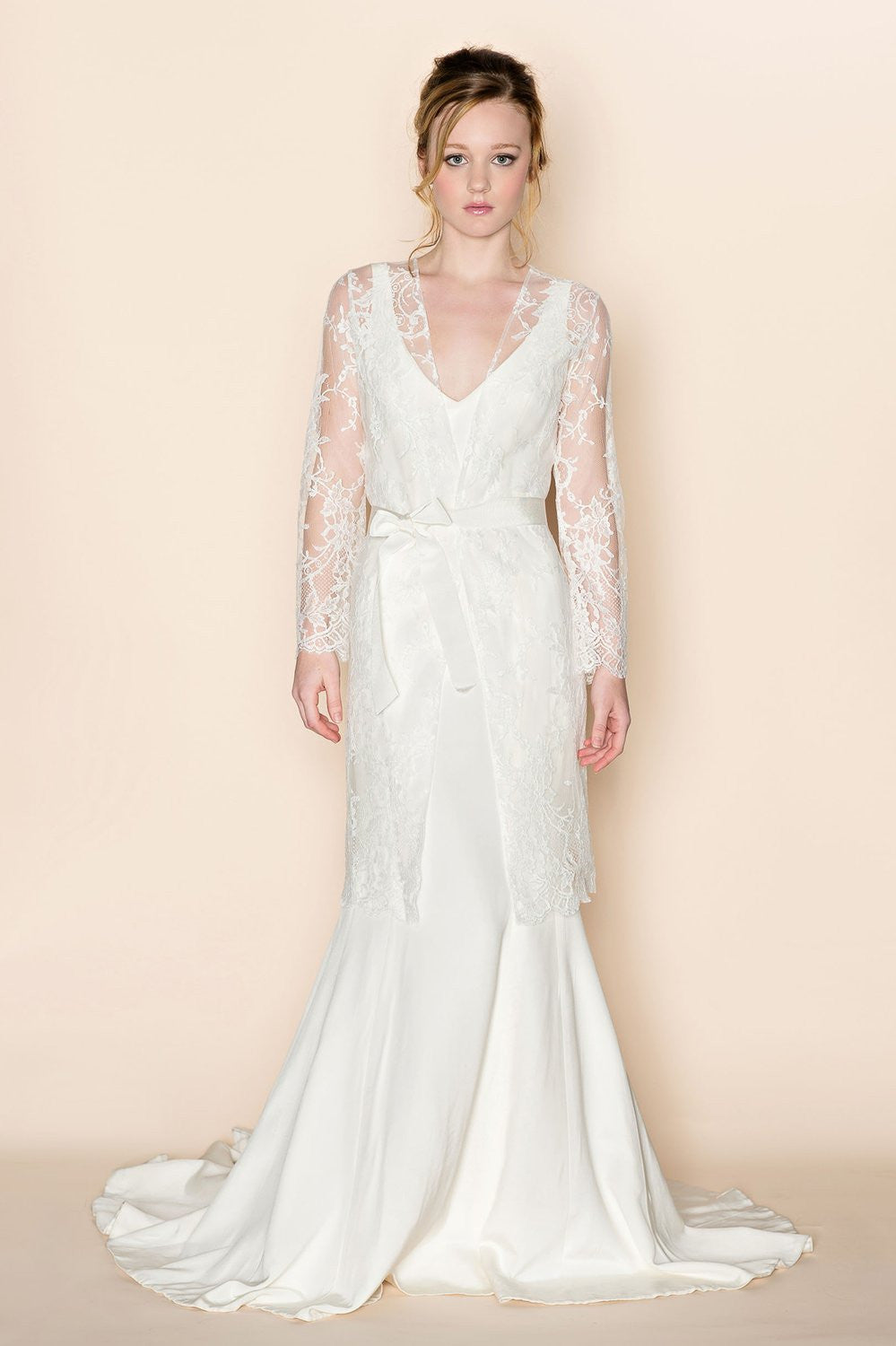 Catherine French Lace Bridal Robe Coat Cover Up Style 216