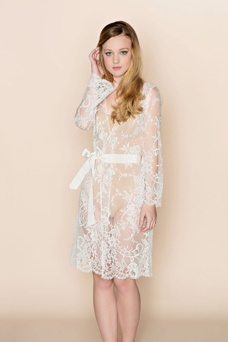 CATHERINE FRENCH LACE BRIDAL ROBE COAT COVER UP - STYLE 216
