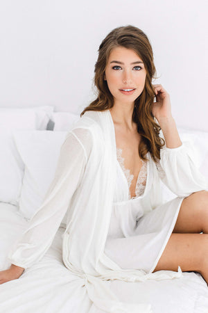 Lounge Pima cotton Chemise with lace in Ivory
