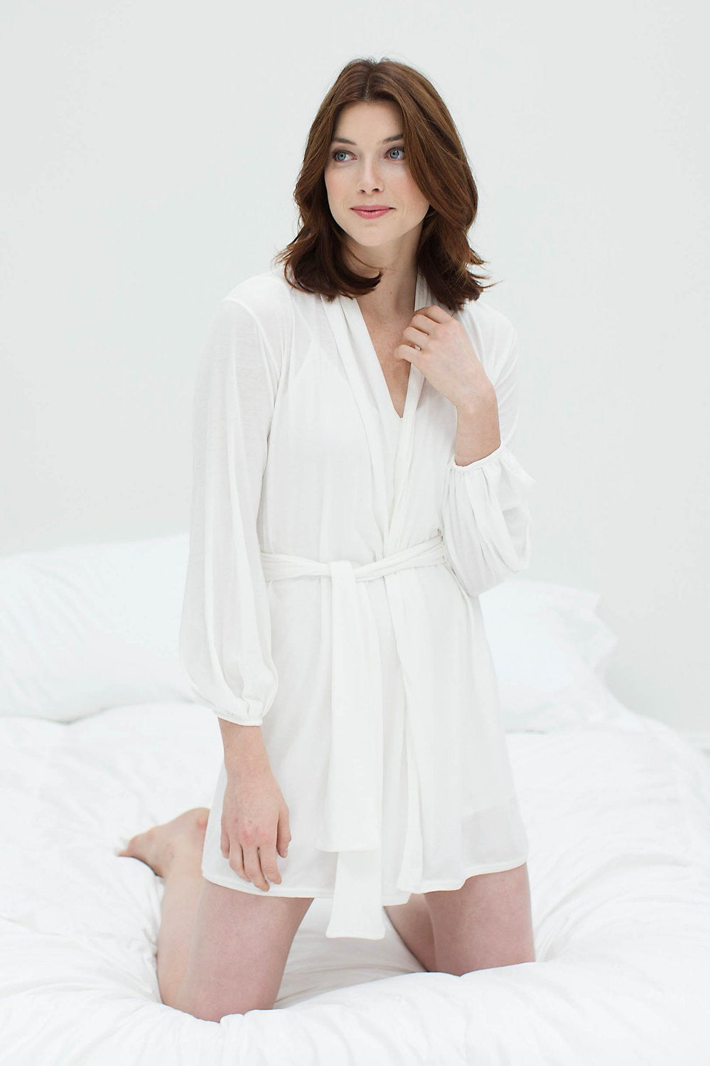Lounge Pima Cotton Robe in ivory, style RP2016