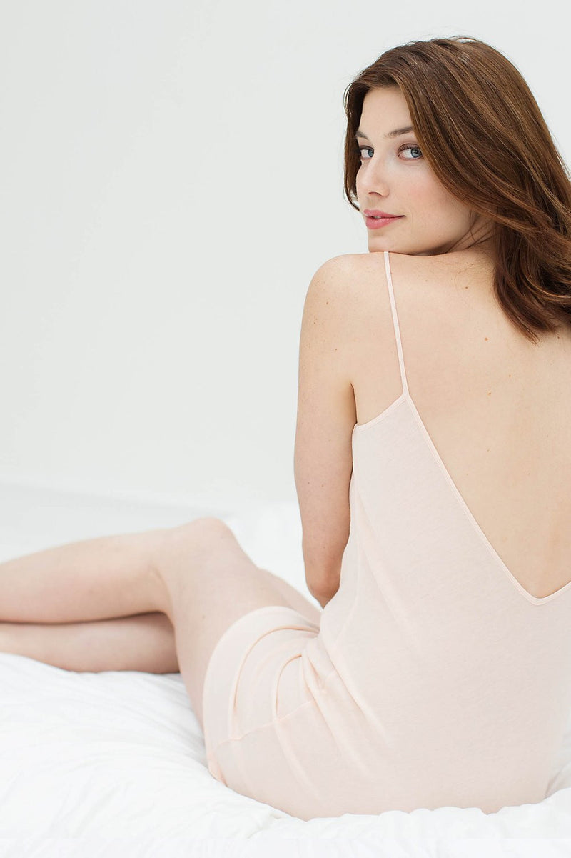 SOFT PIMA COTTON SLIP IN BLUSH PINK - STYLE A12
