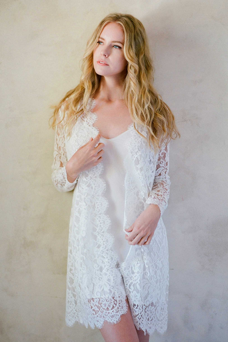 Anthropologie Giselle Leavers Lace Robe bride getting ready Jose Villa wedding