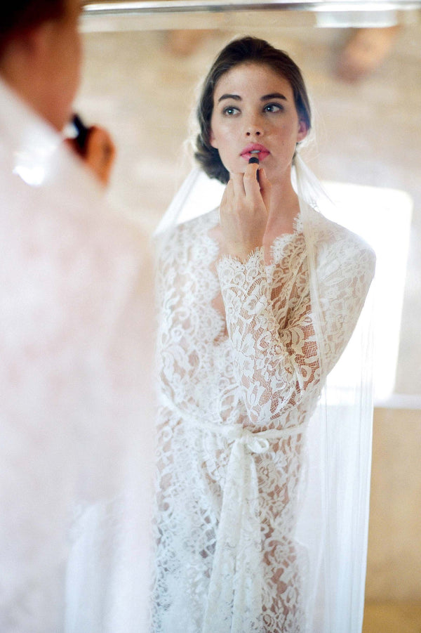 Anthropologie Giselle Leavers Lace Robe Jose Villa