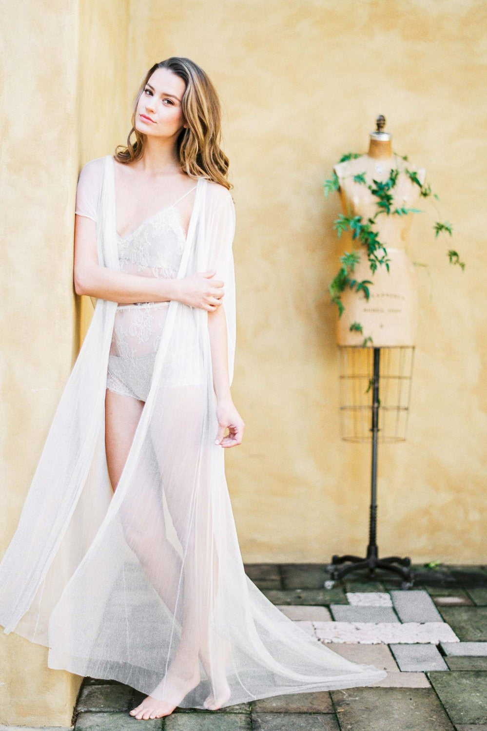 Godiva French Lace Silk Tulle Cape gown In Ivory