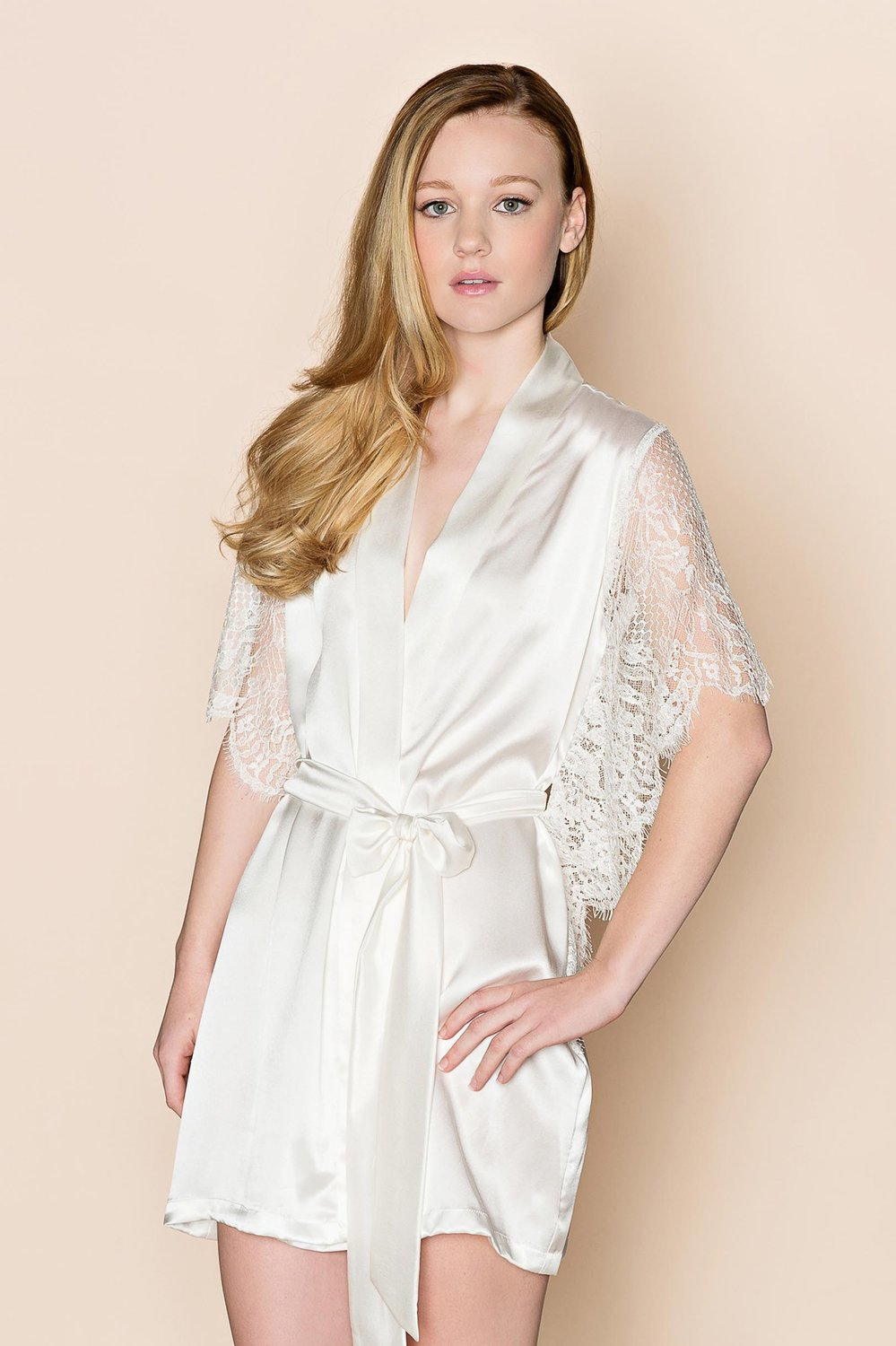 Grace winged Silk & Lace Bridal lace robe with butterfly sleeves in Ivory