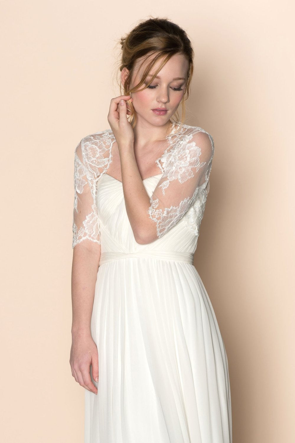 Roseline French lace tulle bolero cover up in off-white - style 212