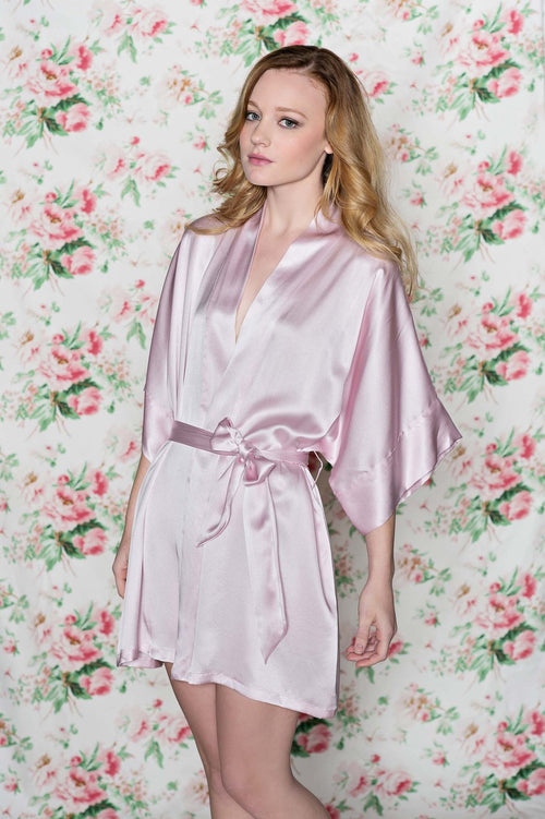 SAMANTHA SILK GETTING READY BRIDAL BRIDESMAIDS ROBE KIMONO IN ROSE PINK - STYLE 300