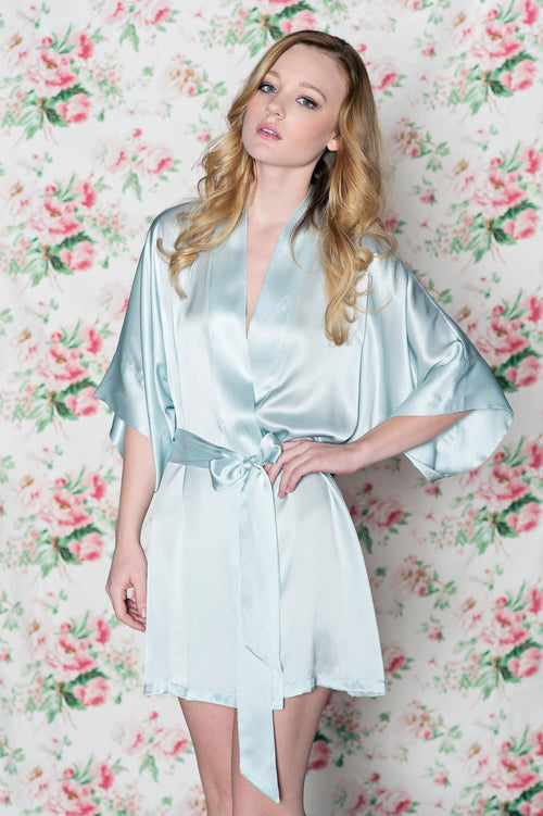 Samantha bridal silk kimono robe bridesmaids robes in Seafoam blue - style 300