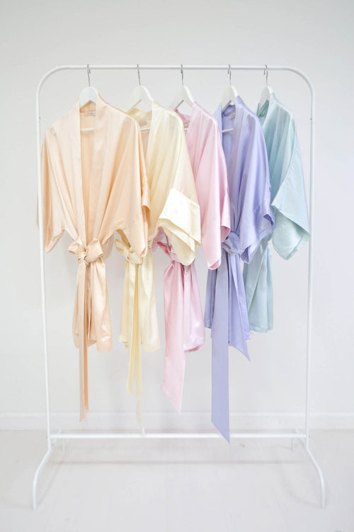 SAMANTHA SILK BRIDAL KIMONO BRIDESMAIDS ROBES IN BLUSH IVORY PINK LAVENDER SEAFOAM OFF WHITE - 300