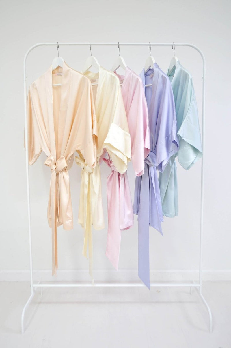 Samantha Silk Bridal Kimono Robe in blush pink
