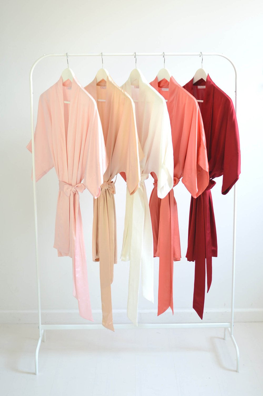 Samantha bridal silk kimono robe bridesmaids robes in Strawberries & Cream colors - style 300