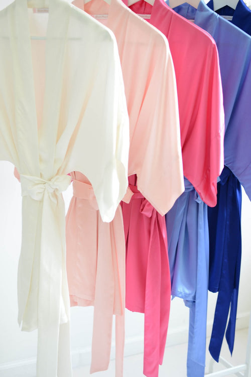 Samantha bridal silk kimono robe bridesmaids robes in Cool blues & pinks - style 300