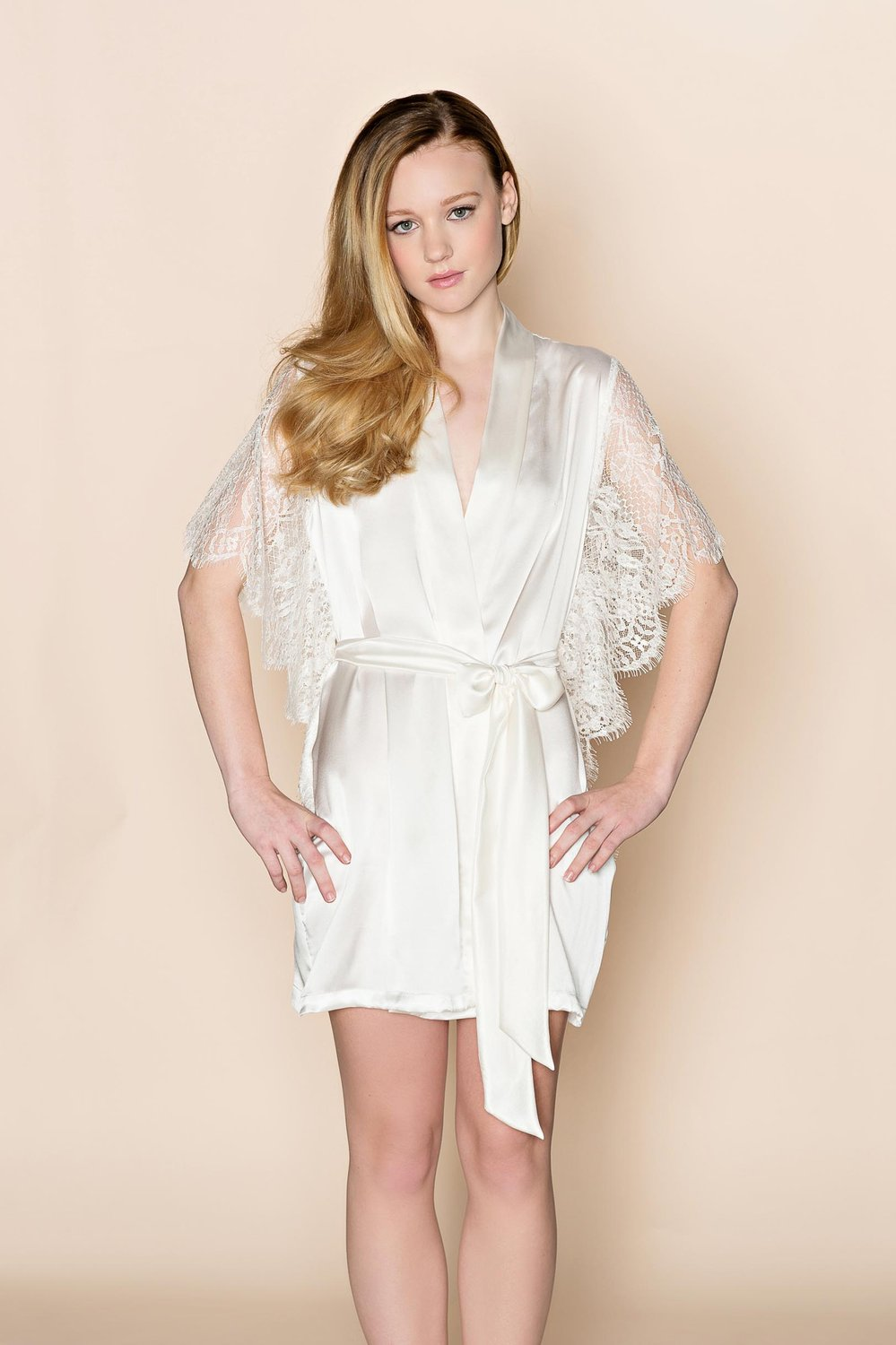 Grace winged Silk & Lace Bridal Kimono Robe in Ivory Or Off-White