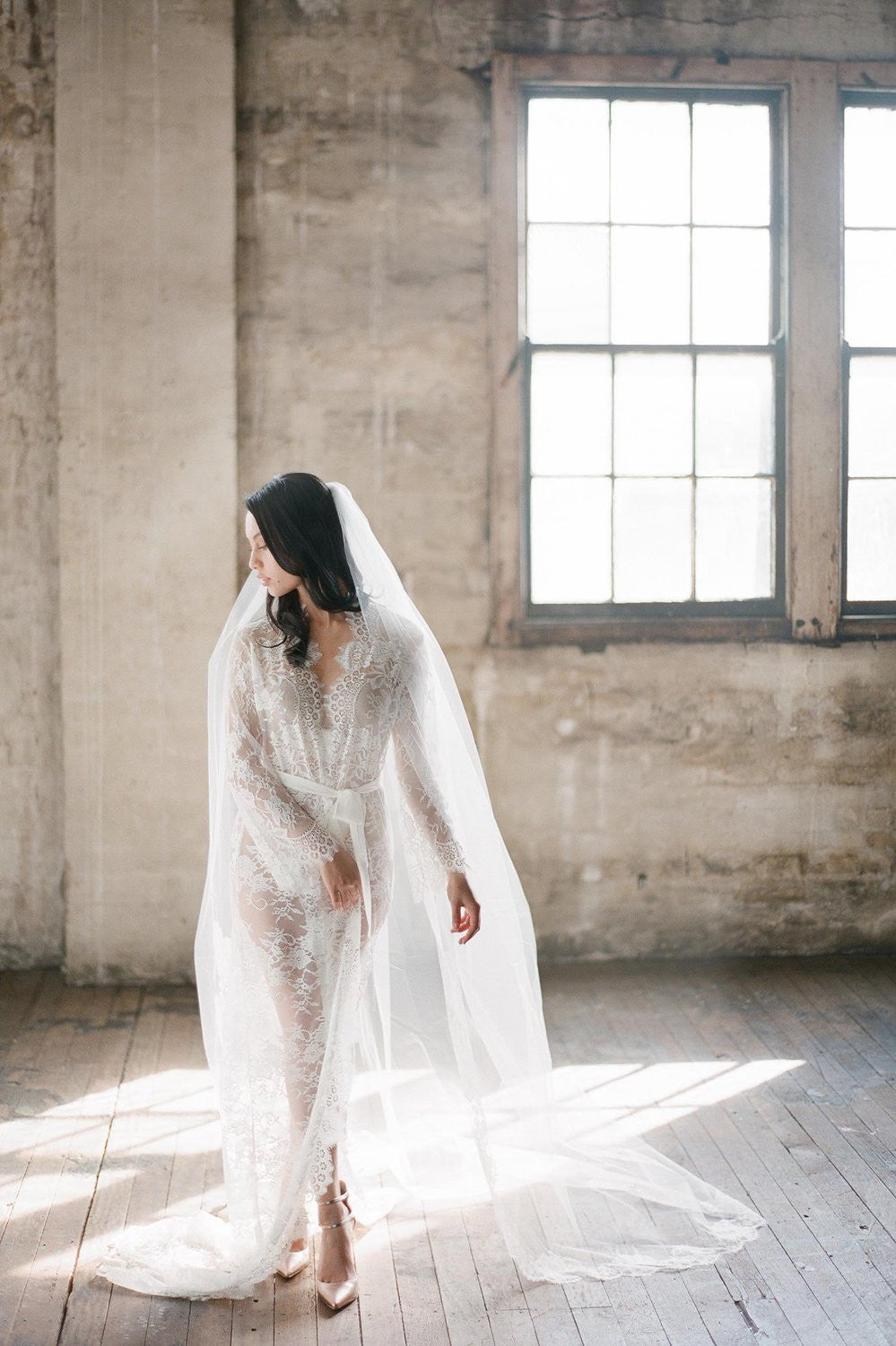Roseline French Lace Cathedral Single layer veil
