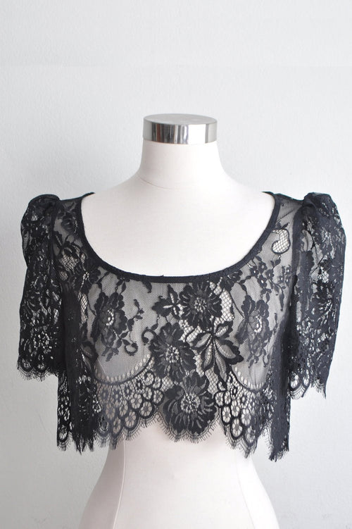 SWAN QUEEN LACE CROP TOP IN IVORY OR BLACK.
